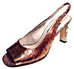 Ditto by VanEli Metallic Peep Toe Slingback Gold, Brown & Silver Sandals
