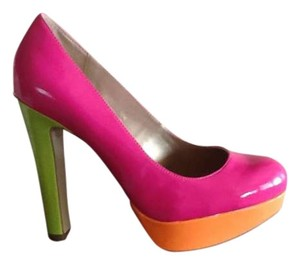 Guess Pink with orange platforms and green heels Pumps