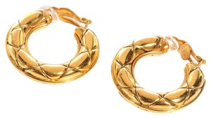 Chanel CHANEL Vintage Quilted Hoop Earrings