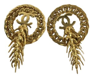 Chanel CHANEL Vintage CC Wheat Clip On Earrings