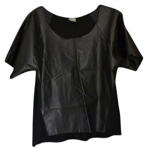 C&C California Faux Leather Casual T Shirt Black