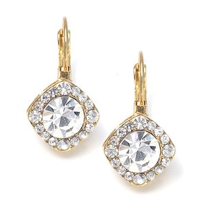 Mariell Tailored Crystal Solitaire Gold Drop Earrings 209e-cr-g