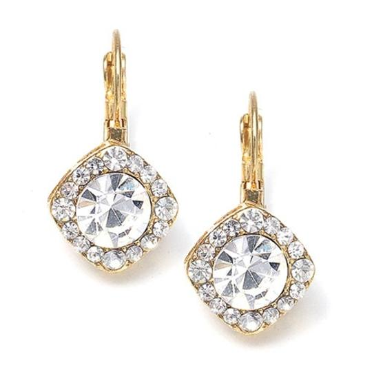 Mariell Gold Tailored Crystal Solitaire Drop 209e-cr-g Earrings