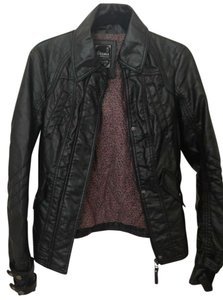 Bershka Black (pink leopard print inside) Leather Jacket