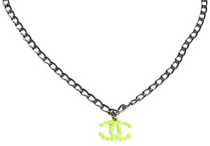 Chanel CHANEL Resin Gunmetal Neon Green CC Necklace CCAV370