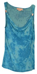 Michael Kors Tie Dye Cowl Neck Top Blue