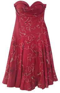 Tibi short dress Deep Red Strapless Beaded on Tradesy