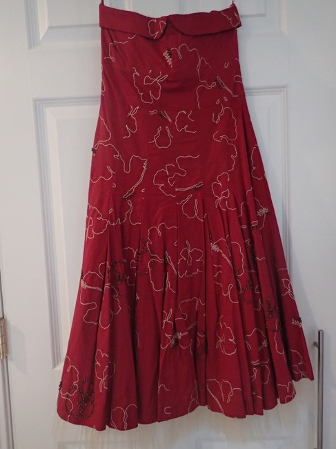 Tibi short dress Deep Red Embroidered Strapless Beaded Tulle Knee Length on Tradesy
