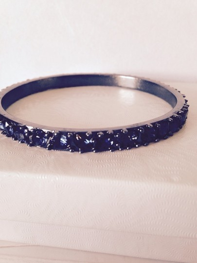 Kenneth Jay Lane Blue Sapphire Crystal Bangle In Black Rhodium With Logo