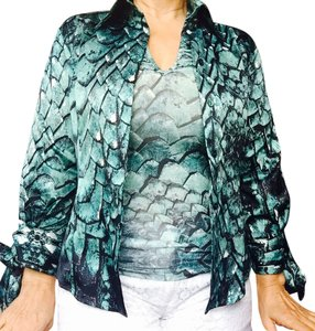 Just Cavalli Top Turquoise And Black And White