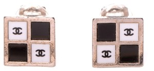 Chanel CHANEL Square CC Clip On Earrings Checkerboard Chess Damier Two Tone Bicolor CCAV222