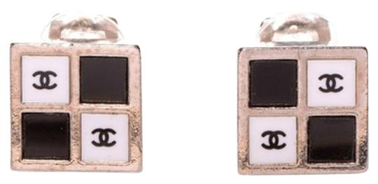 Chanel CHANEL Clip On Earrings Chess Damier Two Tone Bicolor CCAV222