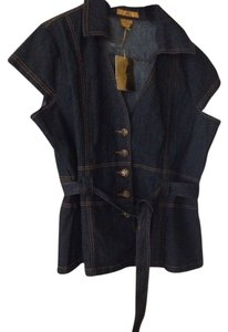 Drama Gold Jean Vest Vest Jeans Button Front Button Down Shirt Blue
