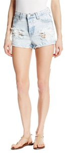 One Teaspoon Distressed Stonewash Pre-shrunk Denim Machine Washable Cut Off Shorts Classic
