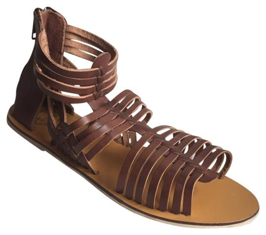 Ecote Urban Outfitters Huarache Ankle Leather Size 8 Like New Brown Sandals