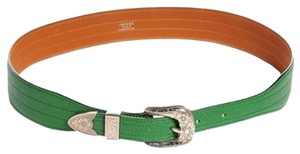 Hermès Vintage Green Werstern Courchevel Belt SZ 70 HE09S