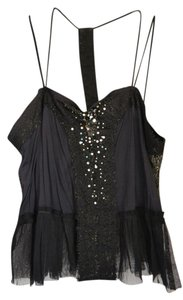 Free People Crop Rhinestone Top Black