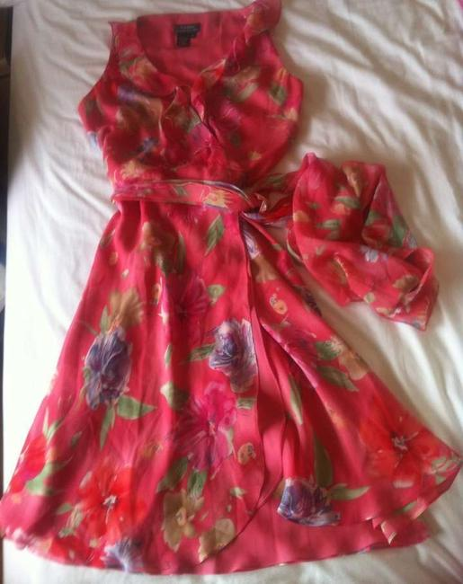 Ralph Lauren Ruffle Floral Chiffon Silk Dress