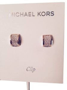 Michael Kors Pave' Rose Gold Tone Hug Clip Earrings