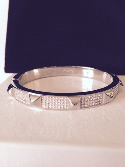 Michael Kors Pave' Studded Silver-Tone Bangle With Logo Pouch
