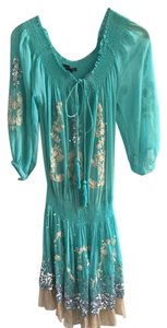 Poupette St. Barth short dress Light Blue Viscose Sequin Embroidered Bohemian Resort on Tradesy