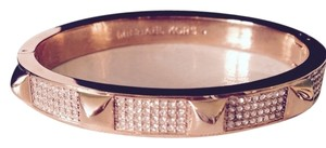 Michael Kors Pave' Studded Rose Gold-Tone Bangle With Logo Pouch