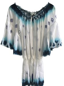 Diamond for Eden short dress White and Blue Silk Bohemian Resort on Tradesy