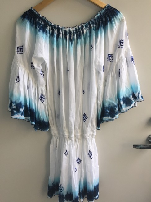 Diamond for Eden short dress White and Blue Silk Bohemian Resort Sundress on Tradesy