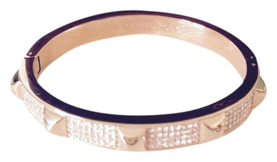Michael Kors Pave' Studded Gold-Tone Bangle With Logo Pouch