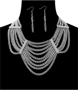 Other BOLD MULTI-LAYER CHAIN NECKLACE W/RHINESTONES & EARRINGS SET