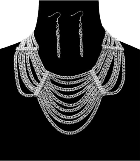 Preload https://item3.tradesy.com/images/silver-tone-bold-multi-layer-chain-wrhinestones-and-earrings-set-necklace-3026002-0-0.jpg?width=440&height=440