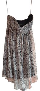 Express Gold Animal Print Chiffon Dress