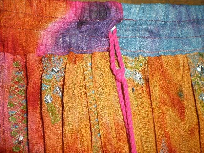INDIA Skirt VARIGATED BLUES, RUST, RED, HOT PINK AND GREENS