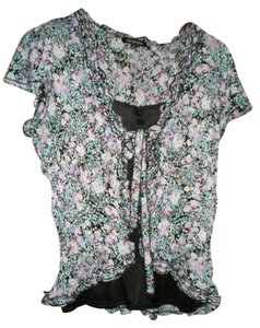 Notations Cap Sleeve Top MULTI-COLORED/LAVENDER,TURQUOISE, BLACK AND WHITE