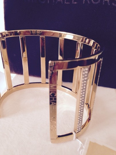 Michael Kors Pave' Gold-Tone Cuff With Logo Pouch