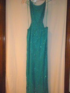 Panoply Teal Silk Beaded Panoply-one Of A Kind Dress Dress
