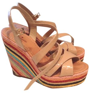 Kate Spade Wedge Shoe Tan Patent Leather with multi colored stripes Wedges