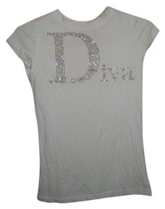 La Camilia Diva Studded Cotton Rhinestone T Shirt white