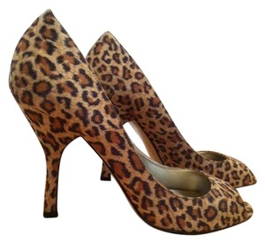 Nine West Open Toe Leopard Pumps