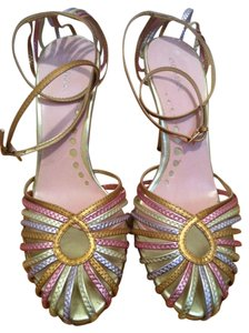 Gomax Sexy Strappy Stilletto 9 Ankle Strap Metallic Summer Spring Gold Multi Colored Pumps