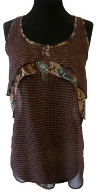 Mossimo Supply Co. Tank Semi Sheer Top brown/multi