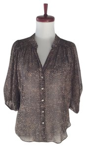 Maiya Silk Boho Top black / taupe