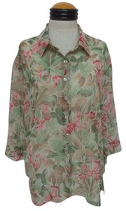 BonWorth Top Green, Brown & Pink Floral Print