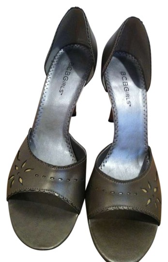 BCBGeneration Open Toe Stiletto Silvery,Pewter Metallic Leather Pumps