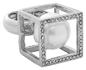 Other GLAM-IT-UP! SQUARE DOME RING WITH PEARL CENTER STONE AND RHINESTONE ACCENTS