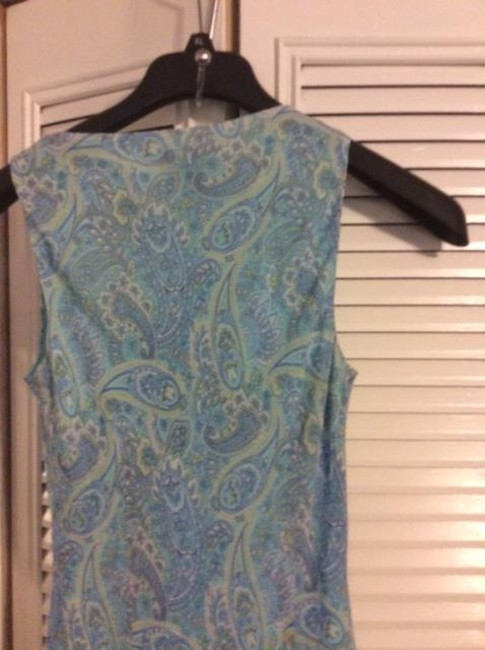 multi colored paisley blue white yellow green Maxi Dress by Ann Taylor