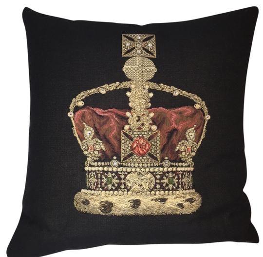 Other Imperial Crown Throw Pillow ; Jeweled Woven Tapestry Velvet-Backed Square [ Roxanne Anjou Closet ]