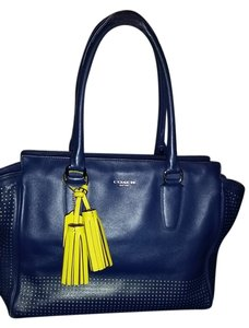 Coach Perforated Neon Tassels Tote in Navy