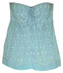 Other Blue Floral See Through Pattern Halter Top