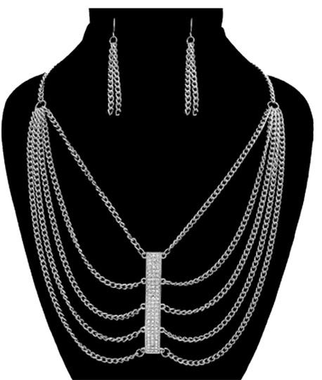 Other SILVER TONE MULTI-CHAIN NECKLACE AND EARRINGS SET WITH RHINESTONE ACCENTS